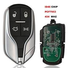 Jingyuqin Smart Remote Key Fob 4 Taste 433MHz ID46 Chip Für Maserati Quattroporte Ghibli 2012 2013 2014 2015