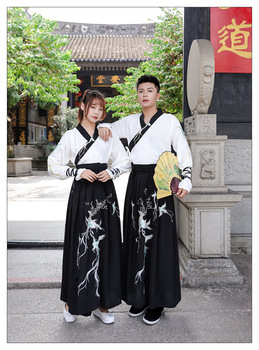 Couples Hanfu Chinese Ancient Vintage Hanfu Fancy Dress Fantasia Adult Cosplay Costume Shirt+Skirt For Men/Women Plus Size 3XL couples hanfu chinese tradition fantasia adult cosplay costume carnival party costume hanfu dress white for men