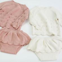Г., вязаный комплект из 2 предметов в Корейском стиле для маленьких девочек, свитер+ шорты с оборками осенне-зимние модные костюмы для девочек от 0 до 3 лет