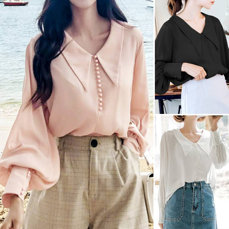 Lantern Sleeve Blouses ZANZEA 2020 Fashion Ladies Casual Solid Work Women White Shirts Spring Blusas Female Elegant Tops S-5XL