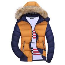 Męskie kurtki zimowe grube z kapturem parki z futrzanym kołnierzem męskie płaszcze w stylu casual wyściełana kurtki męskie męskie ciepłe ubrania wojskowe jakości K230 tanie tanio LUYZJZEN Silk-jak Bawełna Poliester COTTON Szczupła Na co dzień STANDARD REGULAR Zamki Skręcić w dół kołnierz NONE