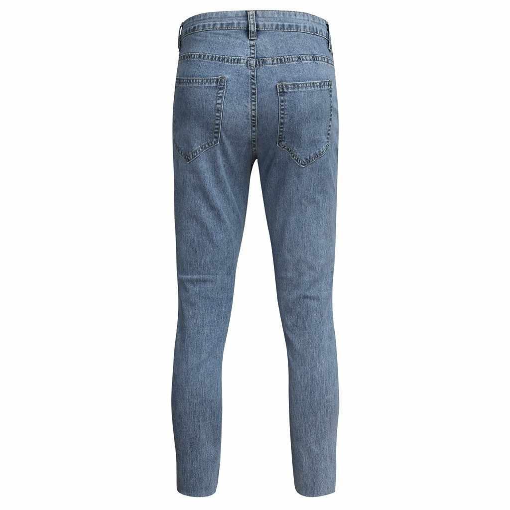 Moda męska na co dzień kieszeń na zamek błyskawiczny Slim Fit rozdrobnione długie dżinsy spodnie spodnie S-3XL na co dzień męskie długie spodnie spodnie marka Biker