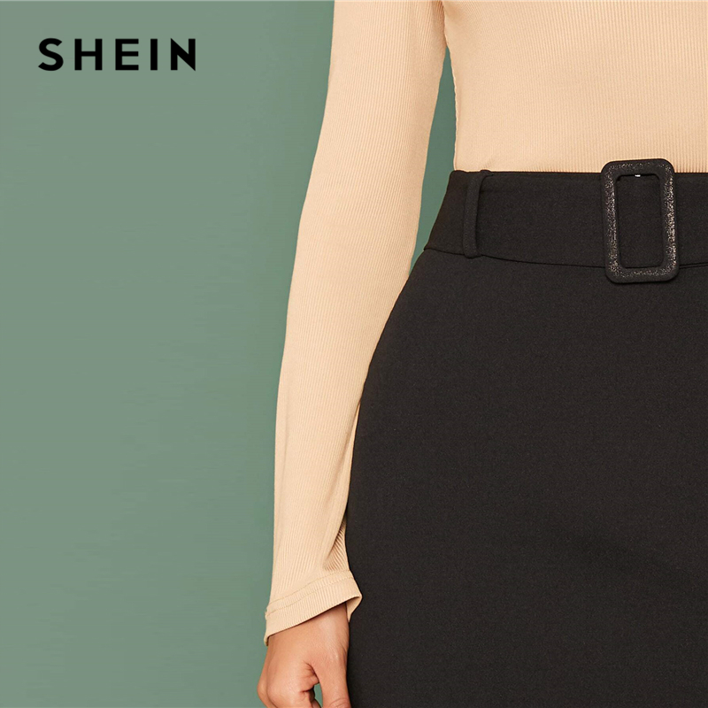 SHEIN Black Buckle Belted Solid Skirts Womens Autumn Solid Stretchy High Waist Elegant A Line Mini Skirt 2