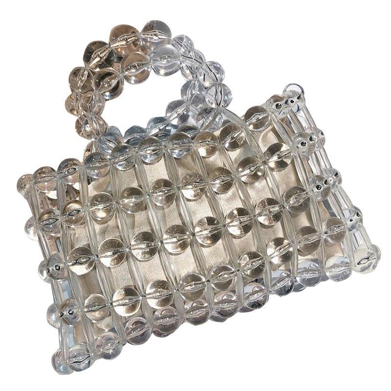 Transparent cristal verre perle sacs femmes à la main sac à main creux clair poignée supérieure sacs à main été plage fête sac à main (Inc