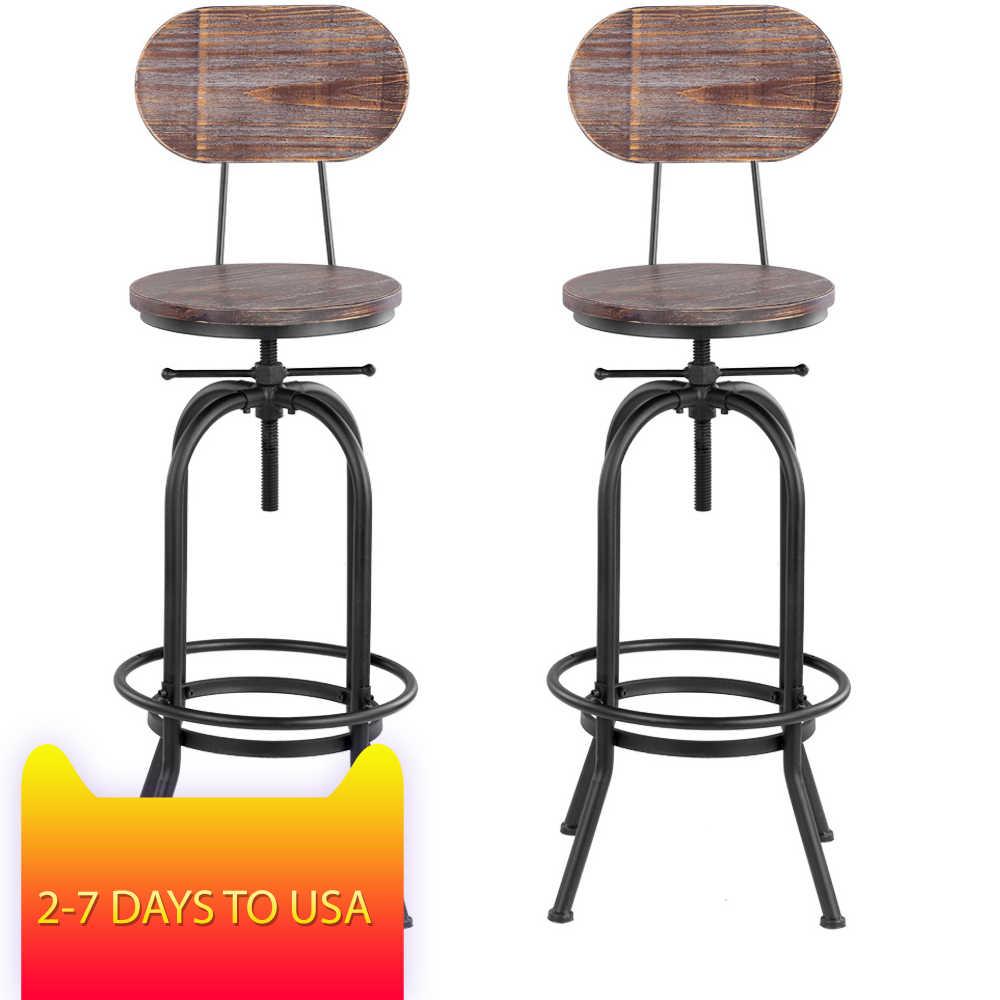 IKayaa промышленный стильный барный стул, регулируемый по высоте поворотный стул для кафе, сосновый верх + металл со спинкой, мебель для бара, кафе