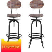 iKayaa Industrial Style Bar Stool Height Adjustable Swivel Cafe Chair Pinewood Top + Metal With Backrest Bar Cafe Furniture(China)