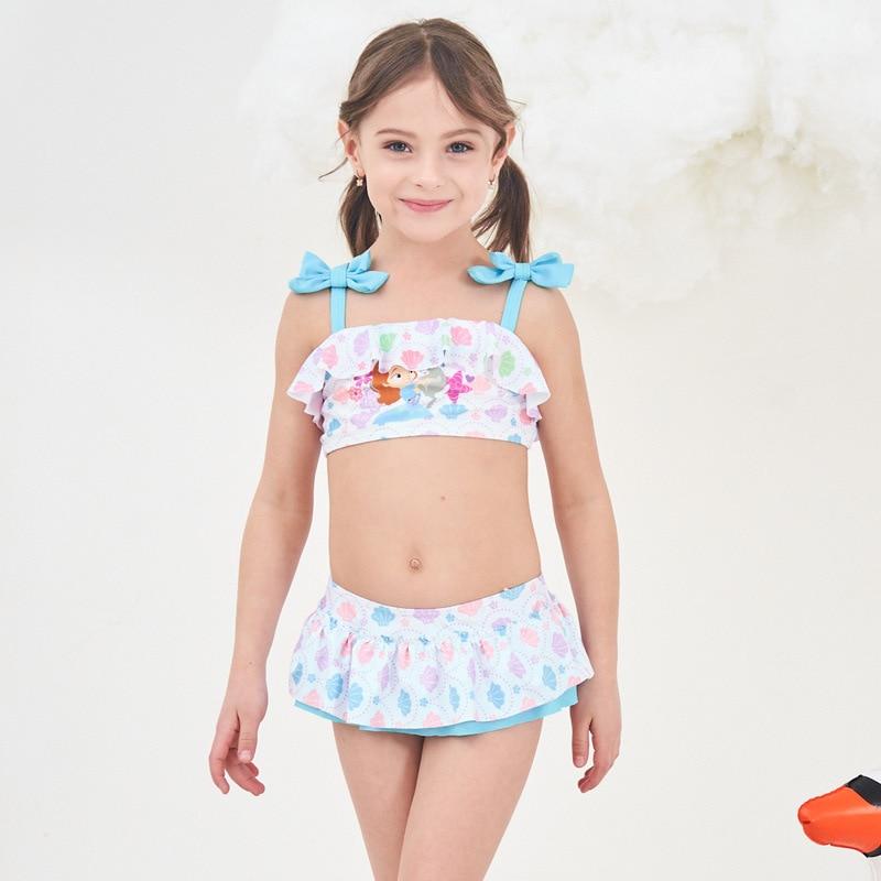 2019 Europe And America New Style Hot Sales Split Type Bikini Bathing Suit Bow Flounced Girls Baby Girls KID'S Swimwear