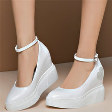 Ankle Strap Mary Janes Women Cow Leather Wedges High Heel Ankle Boots Female Pointed Toe Platform Pumps Shoes Fashion Sneakers handmade christmas green emerald suede sheet leather heel greenery wedding shoes with knot open toe ankle strap d orsay pumps