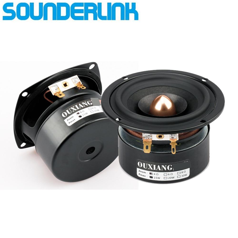 2 unids/lote Sounderlink altavoz de frecuencia de rango completo Audio Unidad de libro con cabeza de bala de aluminio kapton cono 3 pulgadas 90MM
