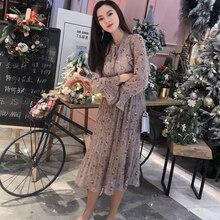цены на Vintage Pleated Floral Dress Women Korean Style Bowtie Midi Flare Long Sleeve Dress All-match Autumn Elegant Pink Vestidos Mujer  в интернет-магазинах