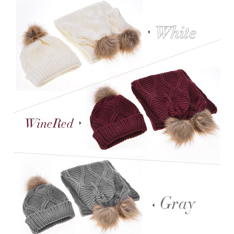 Women's Knitted Hat Cap Wool Warm Scarf Thick Windproof Balaclava Autumn Winter Multi Functional Hat Scarf Set For Women