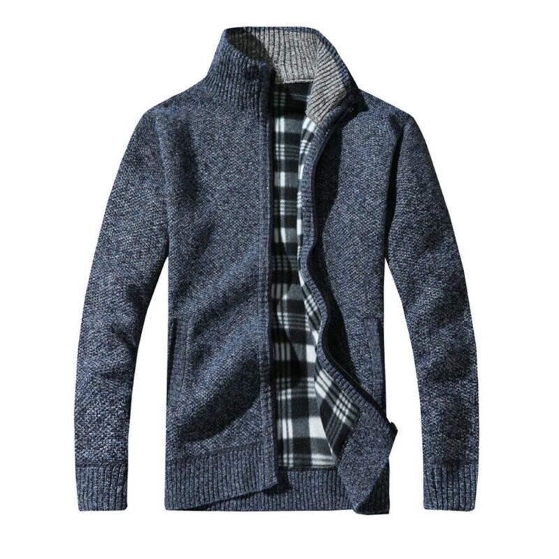 Hot Mens Winter Warm Slim Fit Sweater Knitted Cardigan Jumper Zip Casual Fleece Lined Coat