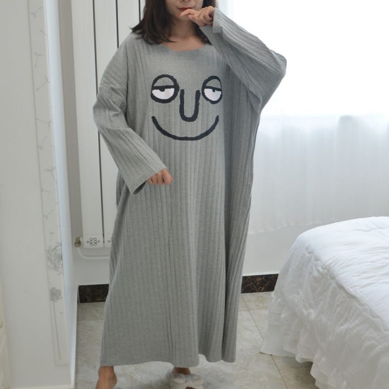 Women Sleep Dress Long Sleeve Funny Cartoon Printed Loose Medium And Long Section Dress Casual Soft Young Girl Home Wear