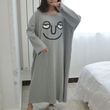 Women Sleep Dress Long Sleeve Funny Cartoon Printed Loose Medium and Long Section Dress Casual Soft Young Girl Home Wear refreshing long sleeve tiny flower printed flounced dress for women