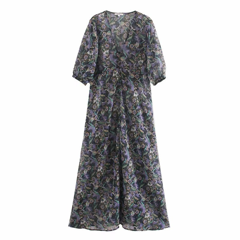 2020 New Spring Summer European Printed Retro Fluffy Zaraing Women Dress Vadiming Sheining Female Dress Streetwear XDN9479