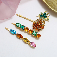3PCS/Set Rhinestone Pineapple Hair Clips Set For Women Exquisite Crystal Hairpins 2019 New Female Gifts Accessories