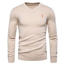 Осень-зима, фирменные качественные мужские свитера из хлопка, пуловеры с v-образным вырезом, мужские однотонные свитера с вышивкой