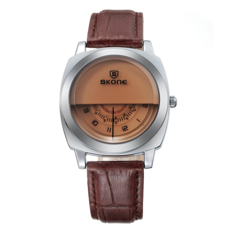 Brand Men's Unique Watch Men's Luxury Fashion Casual PU Leather Strap Space Time Quartz Wrtistwatch Waterproof Relogio Masculino