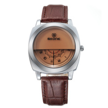 Brand Men's Unique Watch Men's Luxury Fashion Casual PU Leather Strap Space Time