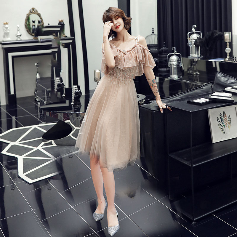 Female A-line Evening Party Mesh Dress Elegant Large Size 3XL Strapless Cheongsam Exquisite Champagne Qipao Vestidos Defesta