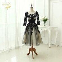 2020 Beach Wedding Gown Black / Champagne Lace Tulle 3/4 Sleeve Sweetheart Tea Length Wedding Dresses Vestido De Noiva Plus Size