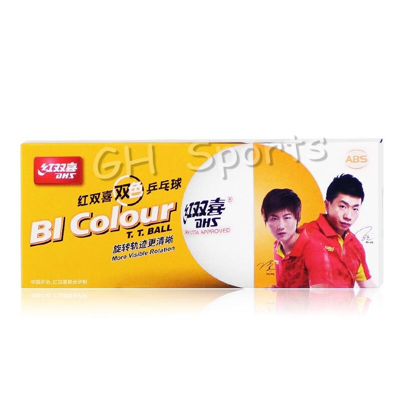 DHS BI Colour Table Tennis Balls (Double Color, China Super League, Seamed ABS 40+ Balls) Plastic Ping Pong Balls