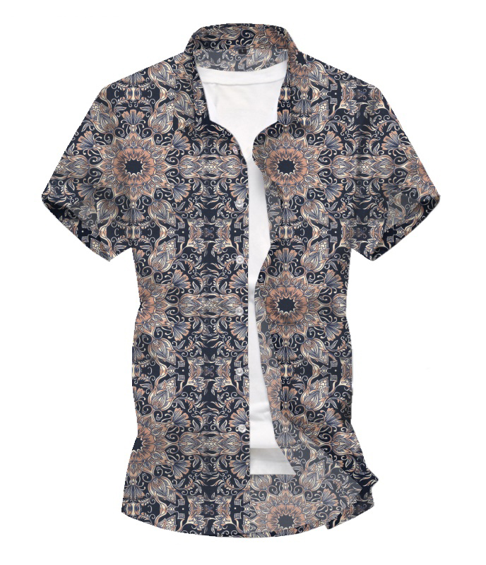 2020 3D Printed Flowers Retro Casual Spring And Summer Men Beach Shirt Hawaiian Short-sleeved Flower Shirt Men