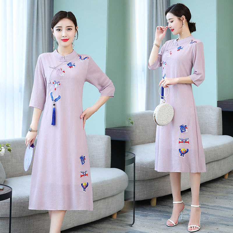 Photo Shoot Improved Cheongsam Dress Lower Apron New Products Retro Embroidered Chinese-style Pendant Loose And Plus-sized WOMEN