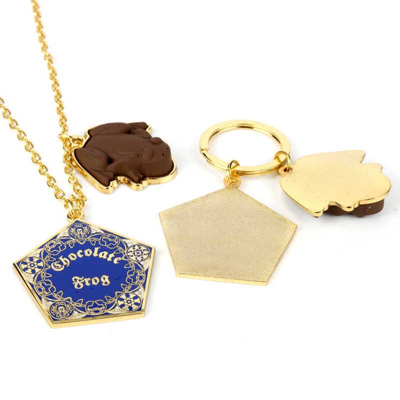 HP Fantastic Beasts Chocolate Rana oro llavero colgante de metal collar Hogwarts escuela cadena con llavero ornamento Cosplay joyería