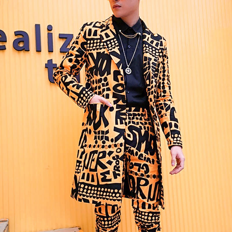 Spring Nightclub Stage Singer DJ Clothes Heren Colberts Long Casual Suits Blazer Masculino Men Letter Blazer Yellow Only Jacket