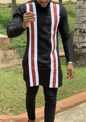 Мужские рубашки с круглым вырезом оранжевого/белого цвета, полосатые топы в стиле пэчворк и однотонные черные брюки, изготовленные по индив...