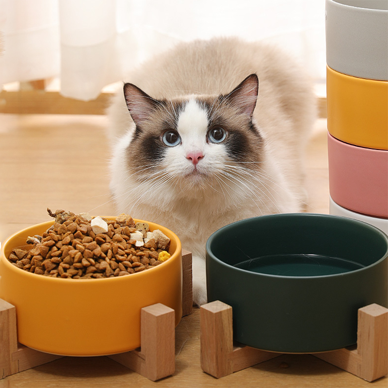 Pet Ceramic Bowl with Bamboo Stand Cat Bowl Dog Bowl Pet Drinking Bowl Food Container Cat and Dog Feeding Supplies