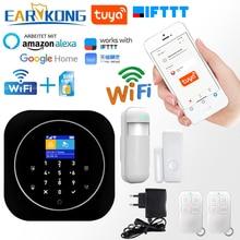 Sistema de alarme segurança residencial tuya, detector app inteligente wifi gsm residencial 433mhz compatível com alexa google home ifttt aplicativo tuya,