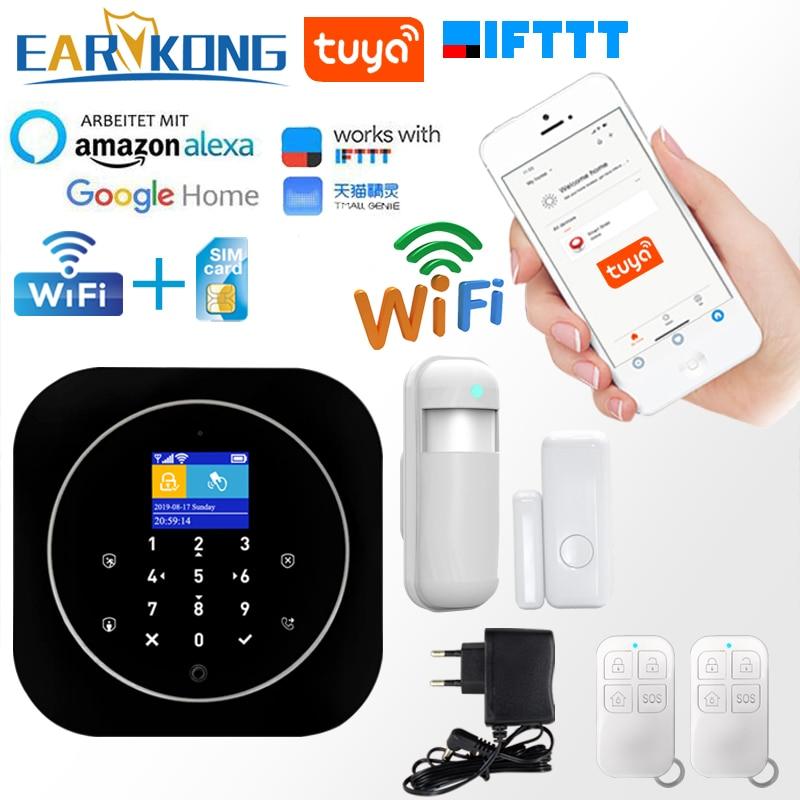 Tuya APP Smart WiFi GSM Home Security GSM Alarm System 433MHz Detectors Alarm Compatible With Alexa Google Home IFTTT Tuya APP