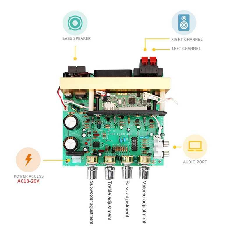 Bluetooth אודיו מגבר לוח 2.1 ערוץ סאב 240W מגבר אודיו לוח עם AUX FM TF AC18-24V עבור קולנוע ביתי