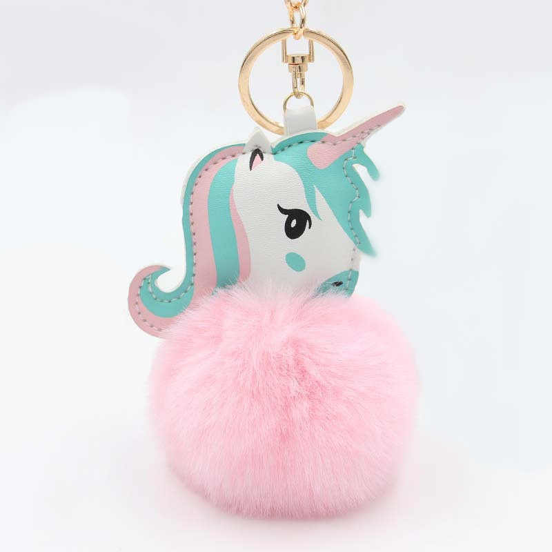 1 pçs adorável unicórnio brinquedo de pelúcia falso coelho bola pompom pelúcia animal para o miúdo mini brinquedo bonito presente chaveiro boneca do bebê chaveiro chaveiro