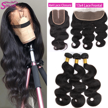 Soul Lady 4x4 Body Wave Bundles With Closure Peruvian Hair Bundles With Closure 13x4 BodyWave Bundles With Frontal Double Weft image