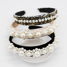 Baroque Row Pearl Headbands for Women Girls Dance Party Hairband Hair Accessories Fashion Bezel Head Wrap