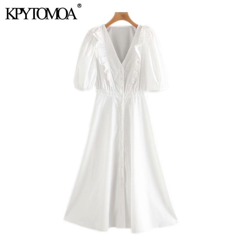 Женское винтажное платье миди KPYTOMOA, модное плиссированное платье на пуговицах с v образным вырезом и коротким рукавом, модель 2020|Платья|   | АлиЭкспресс