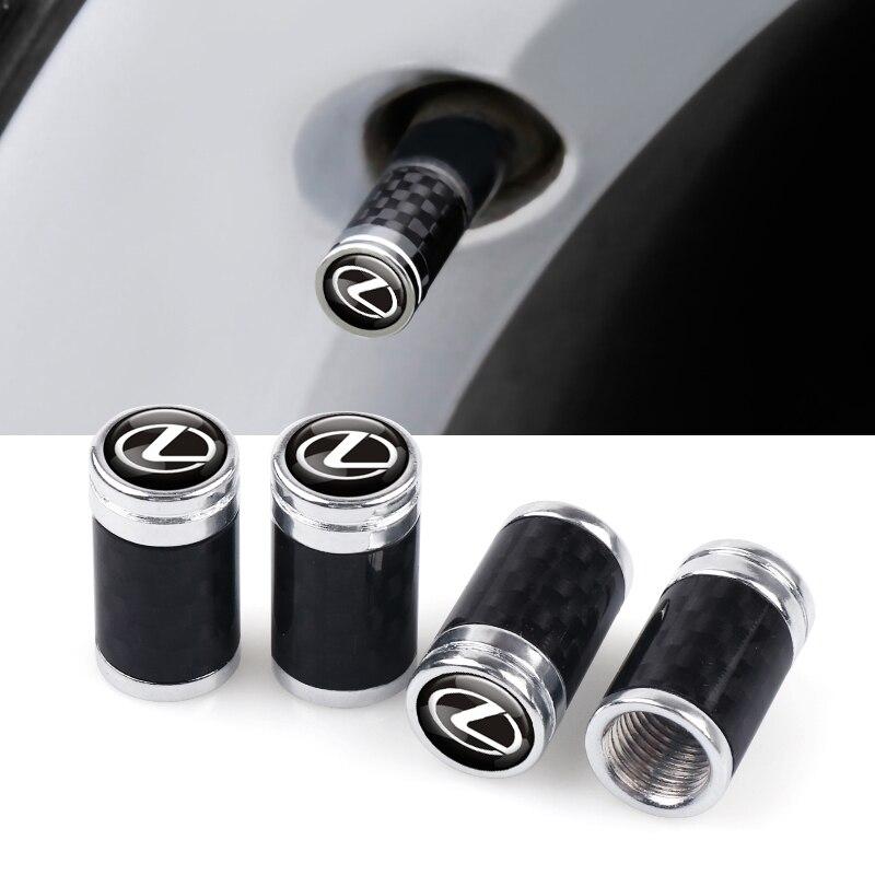 For Lexus RX300 RX450 IS200 IS250 IS300 GS300 Decal Car Accessories 4Pcs 3D Metal Carbon Fiber Wheel Tire Valve Caps Stem Case