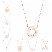 Necklaces For Women Geometric Crescent Moon Star Sun Pendant Necklace 3 Colors Gold & Rose Gold & Silver Color Fashion Jewelry(China)