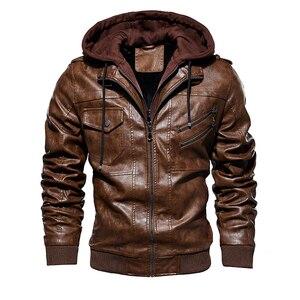 Image 3 - Männer Pu Jacke Winter Leder Mit Kapuze Biker Mantel Männer 2019 Streetwear Fleece Zipper Jacke mit Abnehmbaren Hut Casual Mäntel