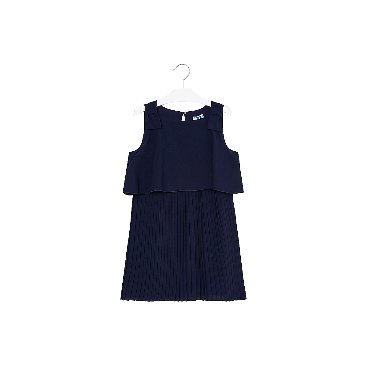 MAYORAL Dresses 10685120 Girl Children fitted pleated skirt Blue Polyester Casual Solid Knee-Length Sleeveless Sleeve