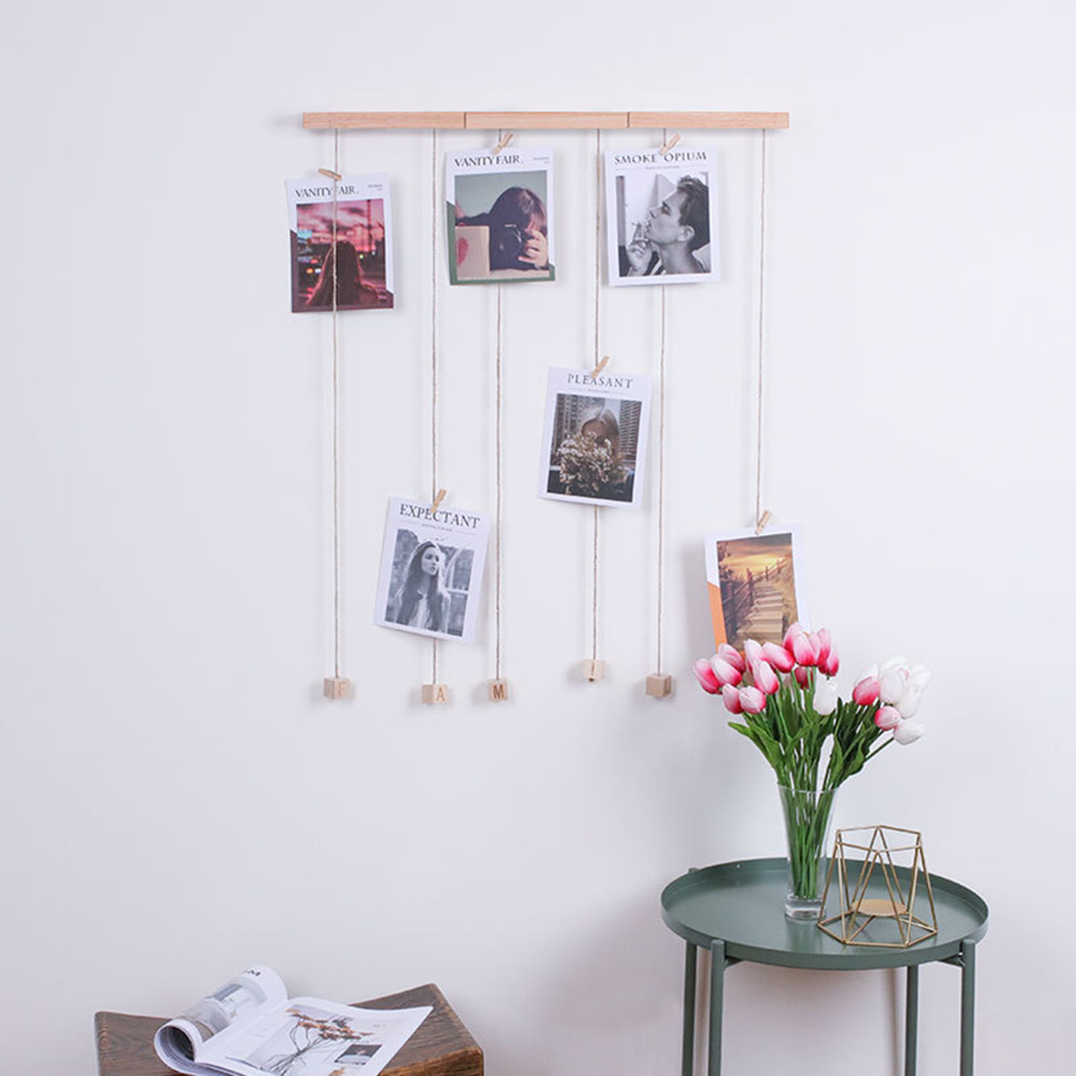 New DIY FAMILY Photo Display Wall Hanging Picture Frame Collage With 20 Clips Home Office Decor Hanging Photo Jigsaw Puzzle Gift