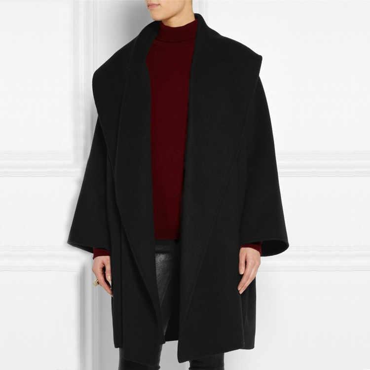 Ropa de mujer nueva moda Simple chal Collar envuelto silueta elegante suelto cinturón abrigo chaqueta Color sólido traje de mujer