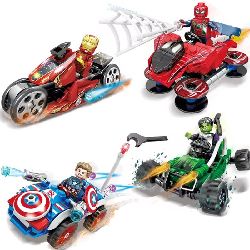 Ideas Tron Iron Man Maste Legacy Hulk Super Hero Motorcycles Marvel Building Blocks Sets Bricks Kids Toys Ninja SuperHero Movie