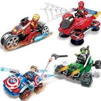 Ideen Tron eisen Mann Maste Legacy Hulk Super Hero Motorräder marvel Bausteine Sets Ziegel Kinder Spielzeug Ninja SuperHero Film