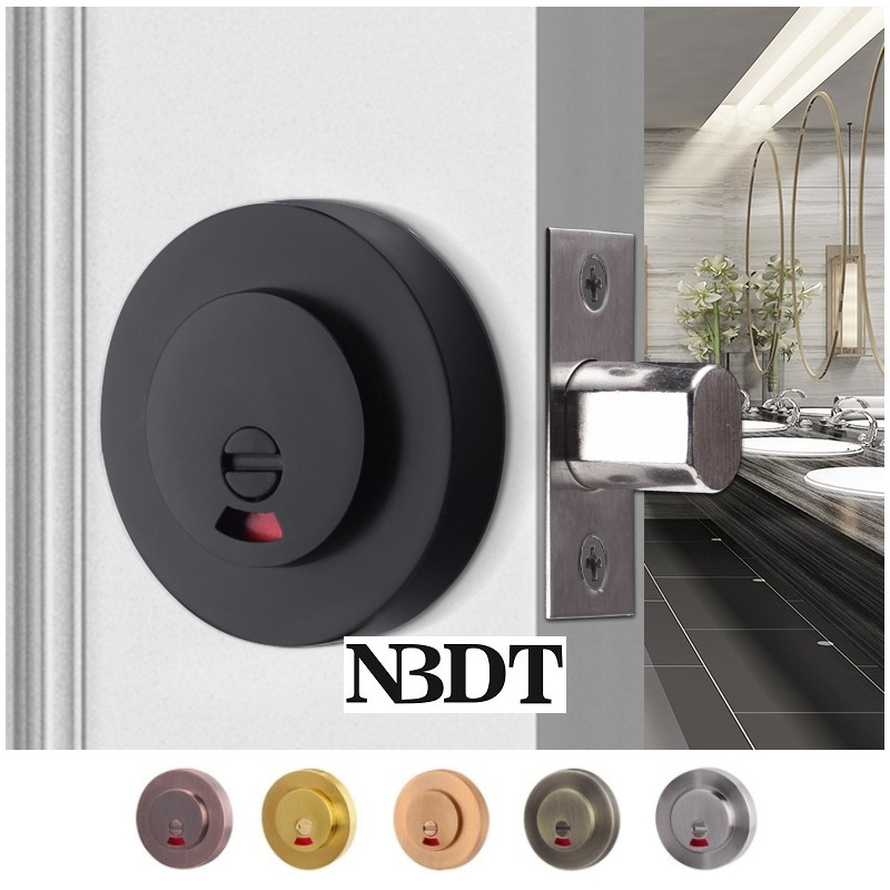 Privacy Round Zinc Door Lock Latch With Red Green Indicator Public Restroom Toilet Partition Thumb T