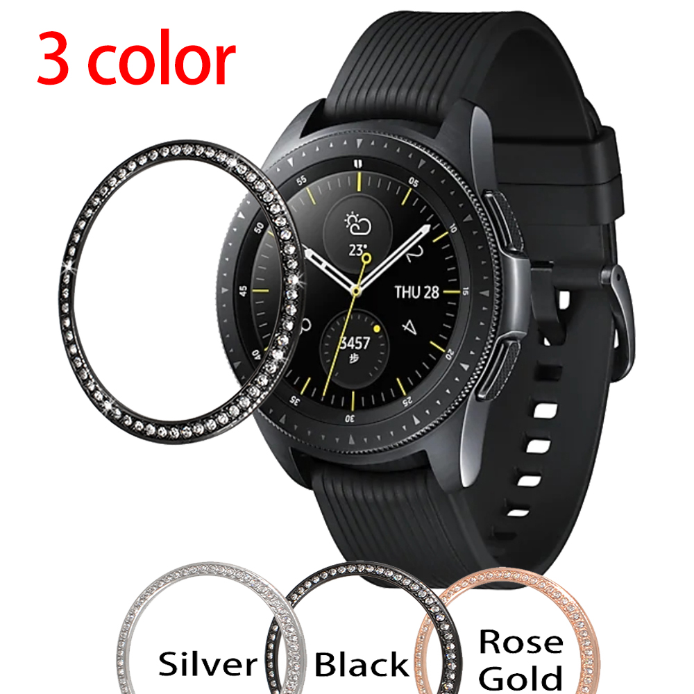 Gear S3 case For Samsung Galaxy Watch 46mm 42mm Diamond Metal Bezel Ring Adhesive Cover Anti Scratch smart watch Accessories