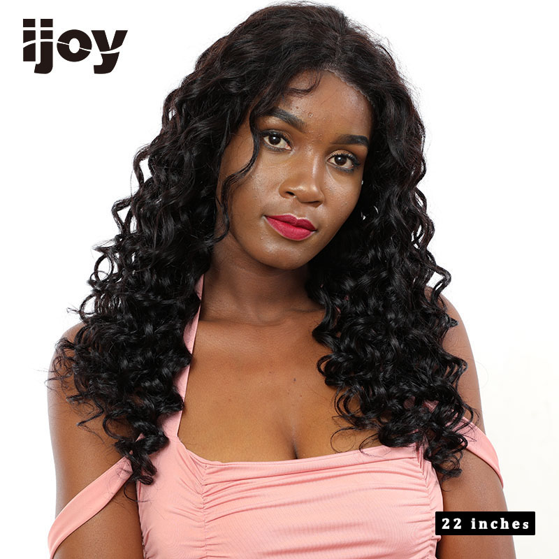 "Water Wave Wig Human Hair Wigs 4x13 Lace Front Wig Brazilian Hair Non-Remy Wigs Natural Black 12""-22"" Real Length Wig IJOY"
